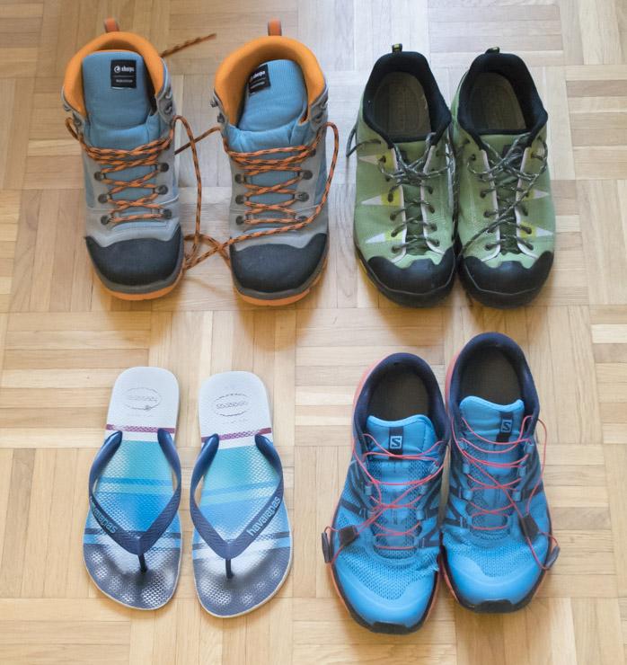 Tipos de zapatos para el camino