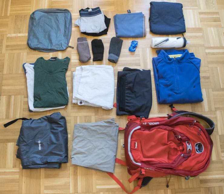 Ropa y mochila para el camino de Santiago