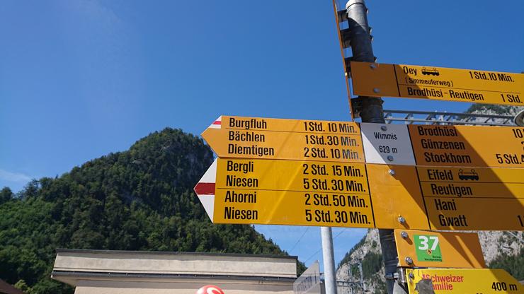 Tiempos estimados hacia Niesen para caminantes suizos
