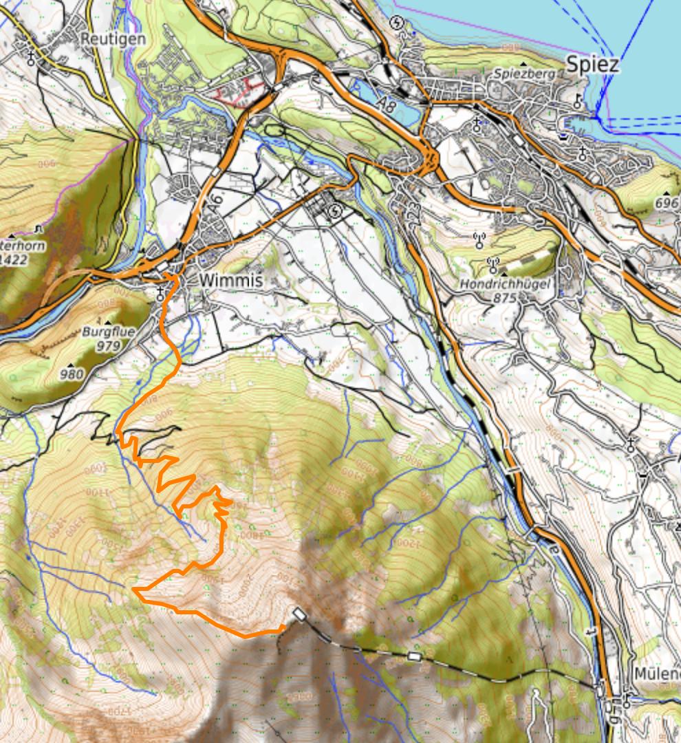 Mapa topográfico de Niesen con el trazado del GPS