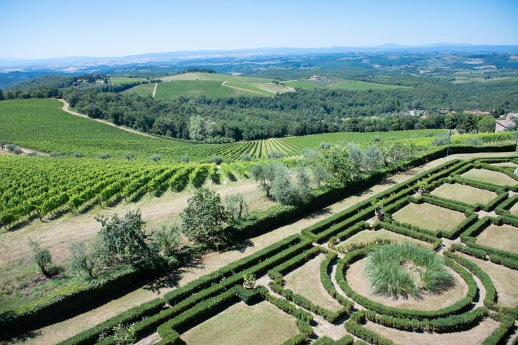 Panorámica de la región de Chianti desde il Castello di Brolio