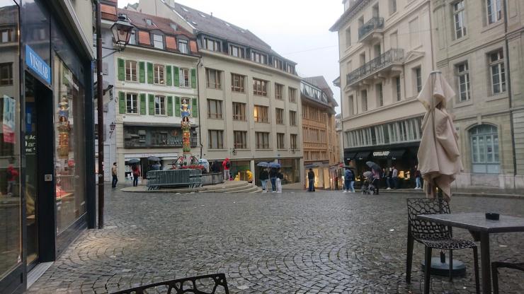 Lausanne en un día triste y lluvioso