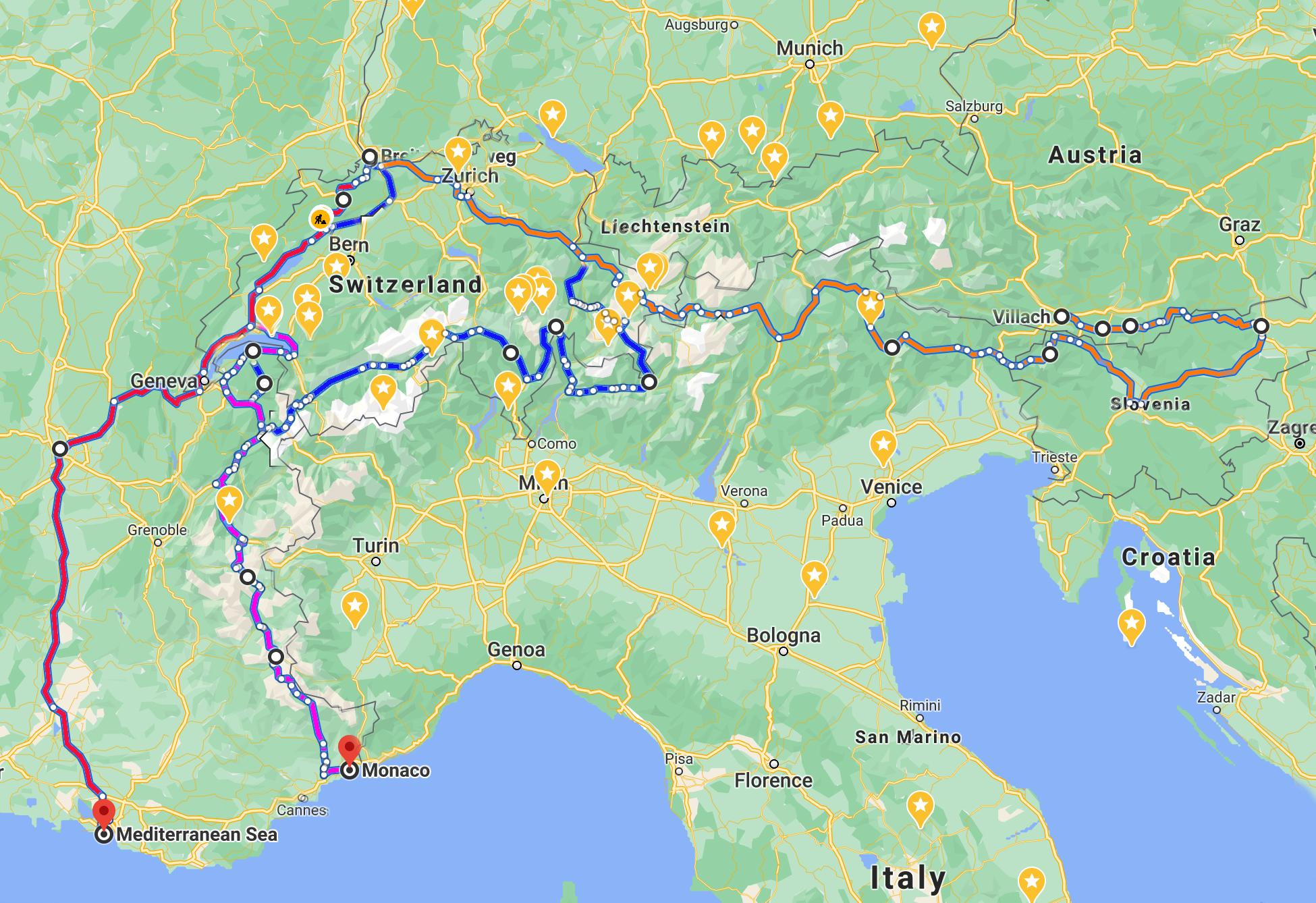 Rutas de Biclicleta desde Suiza